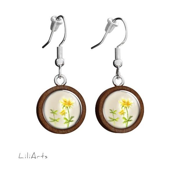 Kolczyki drewniane LiliArts - Kwiatek - wiszące