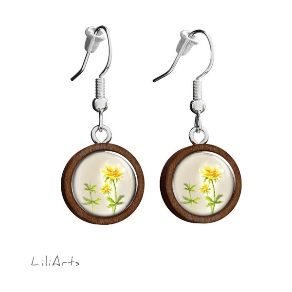 Wooden earrings LiliArts - Flower - hanging