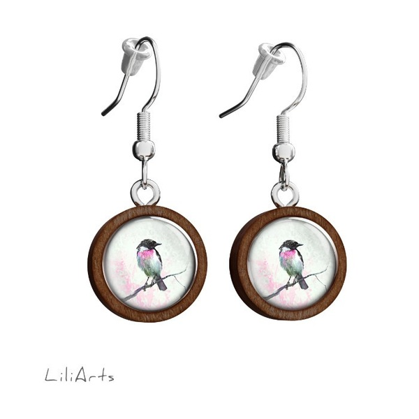 Kolczyki drewniane LiliArts - Ptaszek - wiszące