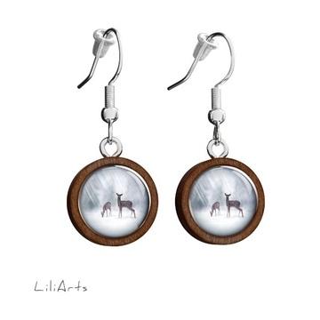 Wooden earrings LiliArts - Roe-deer - hanging