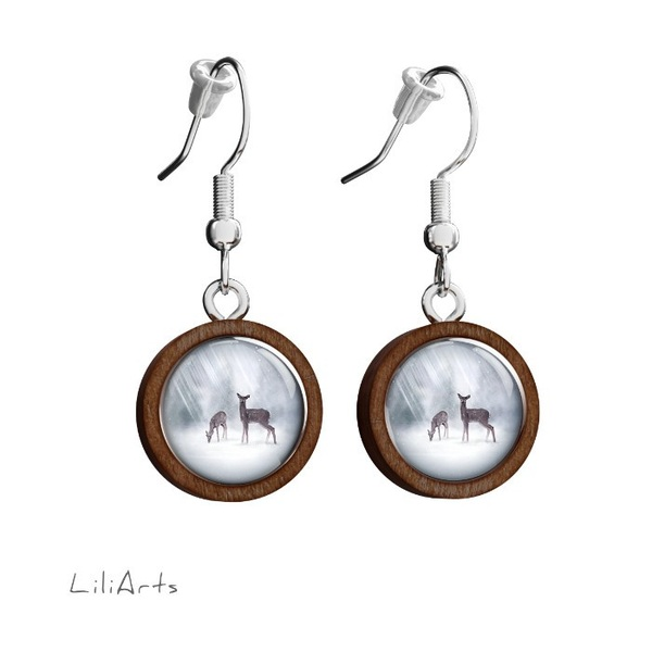 Wooden earrings LiliArts - Roe-deer - hanging