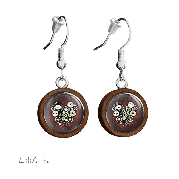 Wooden earrings LiliArts - Steampunk heart - hanging