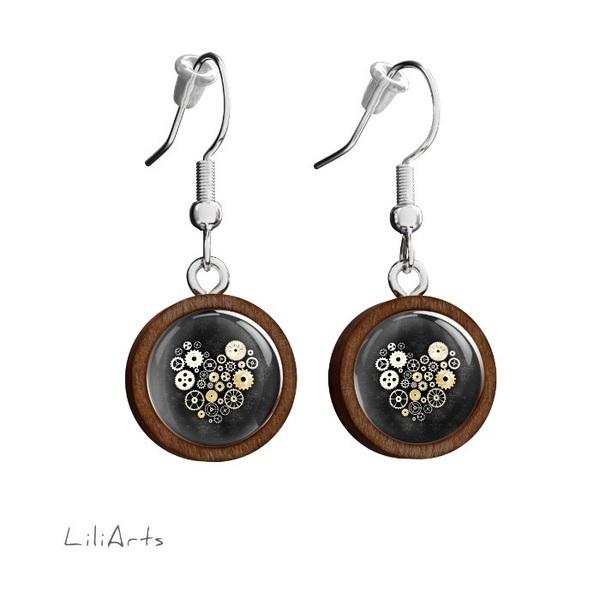 Kolczyki drewniane LiliArts - Serce steampunk czarne - wiszące
