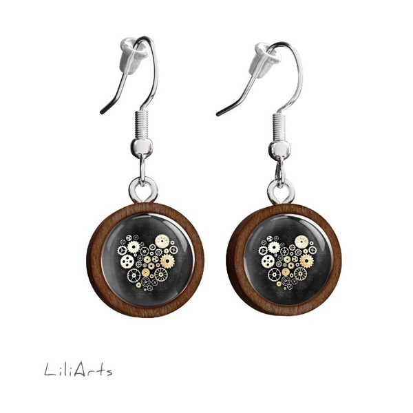 Wooden earrings LiliArts - Steampunk heart black - hanging