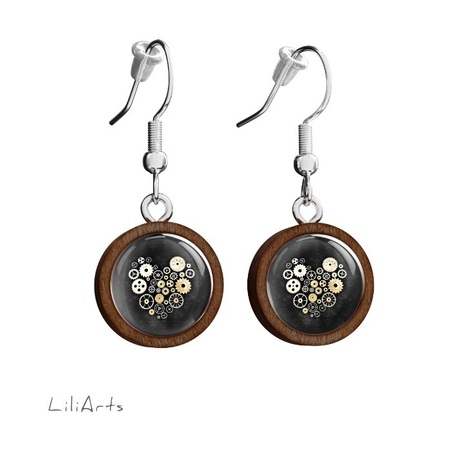 Wooden earrings LiliArts - Steampunk heart black - hanging