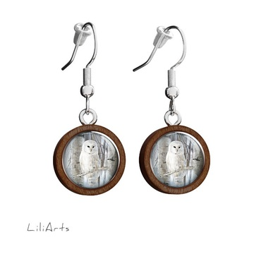 Wooden earrings LiliArts - Owl - hanging