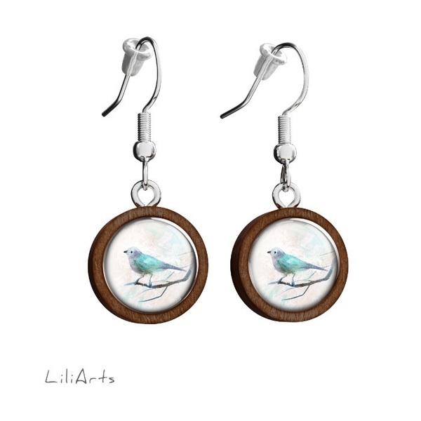 Kolczyki drewniane LiliArts - Turkusowy ptaszek - wiszące