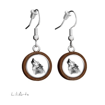 Wooden earrings LiliArts - Wolf - Into the wild - hanging