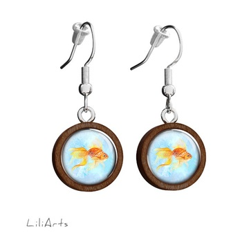 Wooden earrings LiliArts - Gold fish 2 - hanging