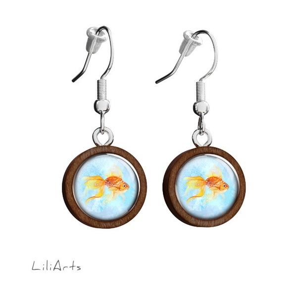 Kolczyki drewniane LiliArts - Złota rybka 2 - wiszące