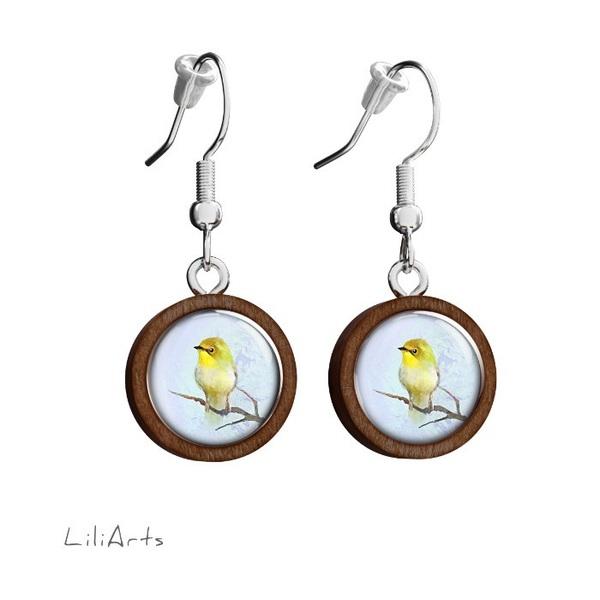 Kolczyki drewniane LiliArts - Żółty ptaszek - wiszące