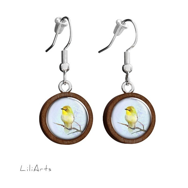 Wooden earrings LiliArts - Yellow bird - hanging