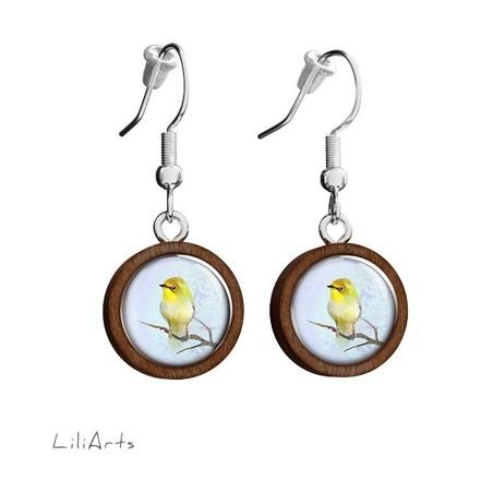 Wooden earrings LiliArts - Yellow bird - hanging