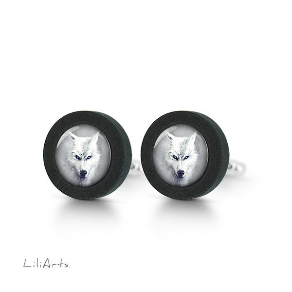 Cufflinks, wooden - White wolf - black