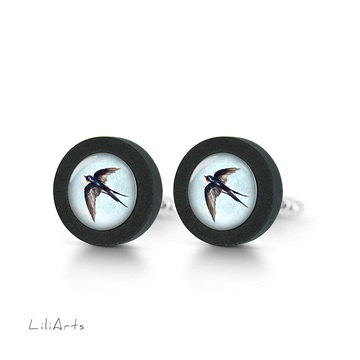 Cufflinks, wooden - Swallow - black