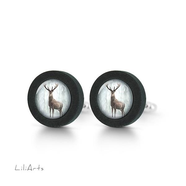 Cufflinks, wooden - Deer in winter - black