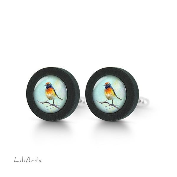 Cufflinks, wooden - Colorful bird - black