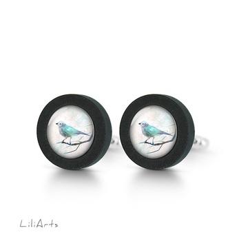 Cufflinks, wooden - Turquoise bird - black