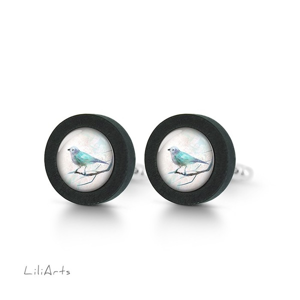 Cufflinks, wooden - Turquoise bird - black