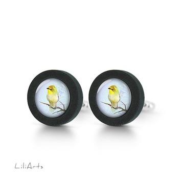 Cufflinks, wooden - Yellow bird - black