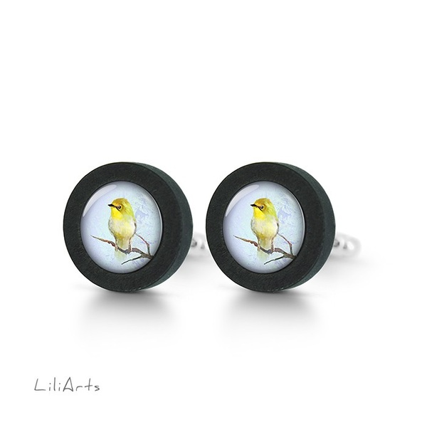 Cufflinks, wooden - Yellow bird - black