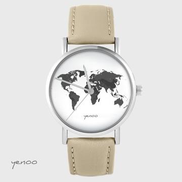 Yenoo watch - World map - beige, leather