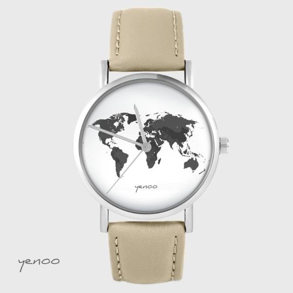 Zegarek yenoo - Mapa świata - beżowy, skórzany