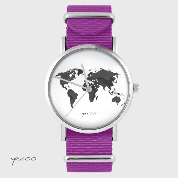 Yenoo watch - World map - magenta, nato