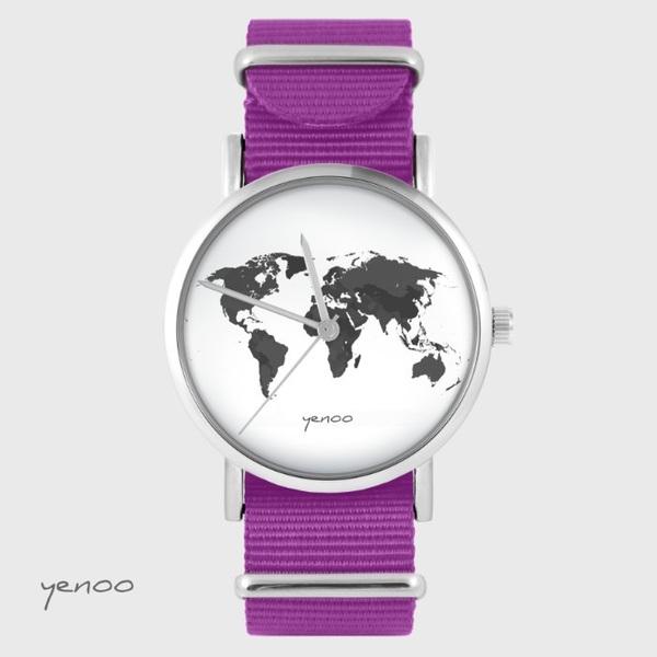 Zegarek yenoo - Mapa świata - amarant, nato