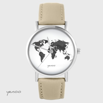Yenoo watch - World map - beige, leather