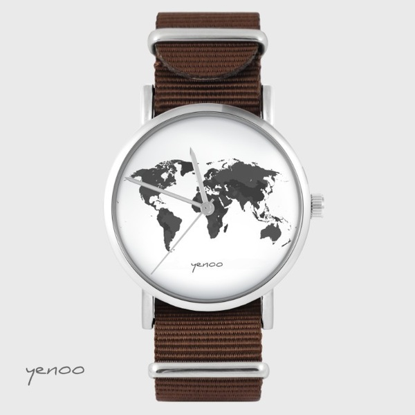 Yenoo watch - World map - brown, nato
