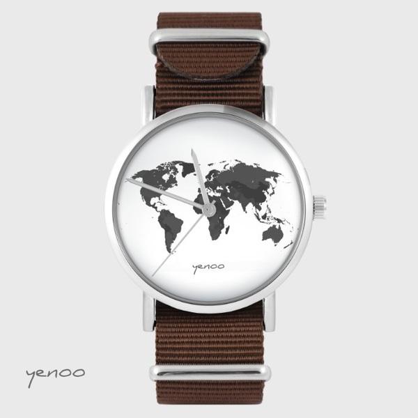 Zegarek yenoo - Mapa świata - brązowy, nato