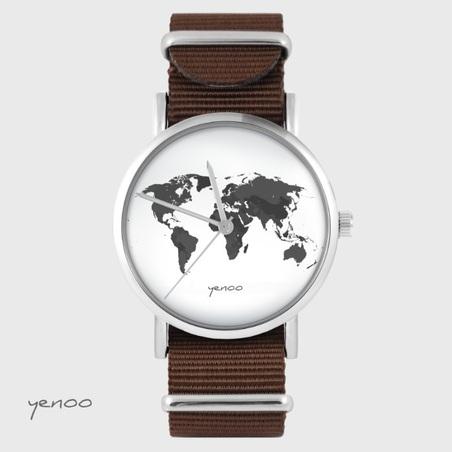 Yenoo watch - World map - brown, nylon