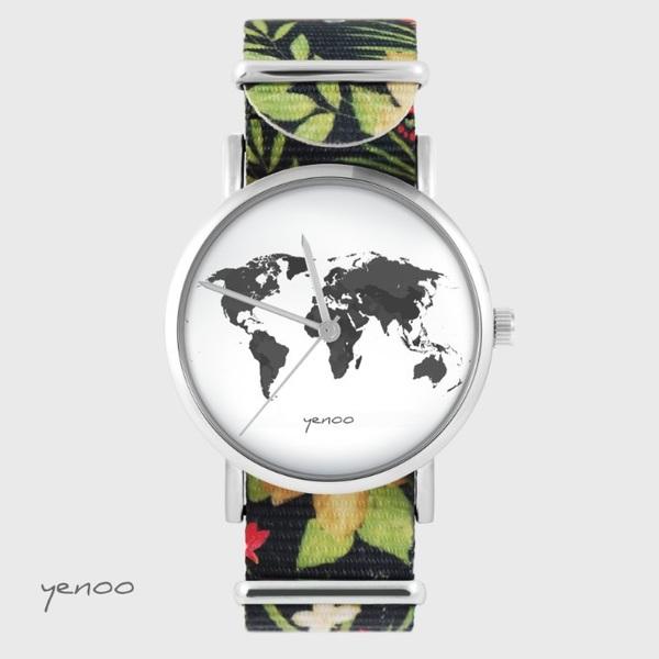 Zegarek yenoo - Mapa świata - czarny, kwiaty, nato