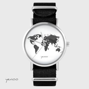 Yenoo watch - World map - brown, nato