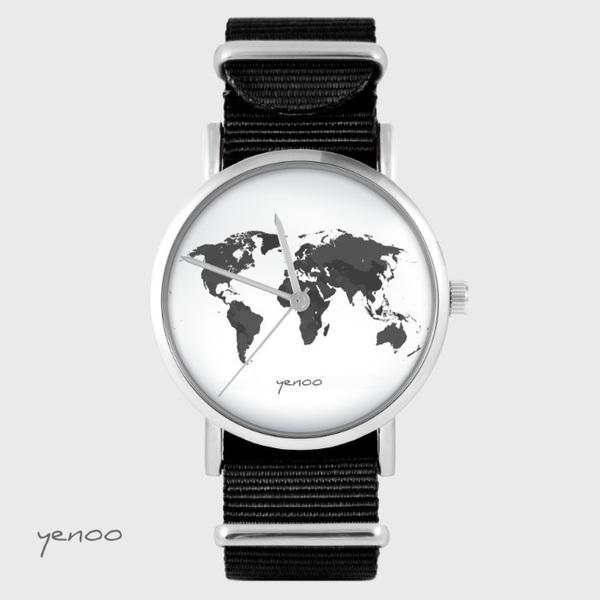 Zegarek yenoo - Mapa świata - czarny, nato