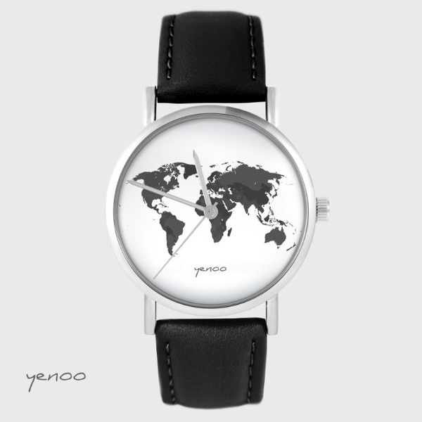 Yenoo watch - World map - brown, leather