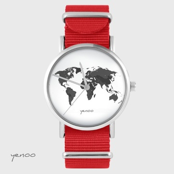 Yenoo watch - World map - red, nato