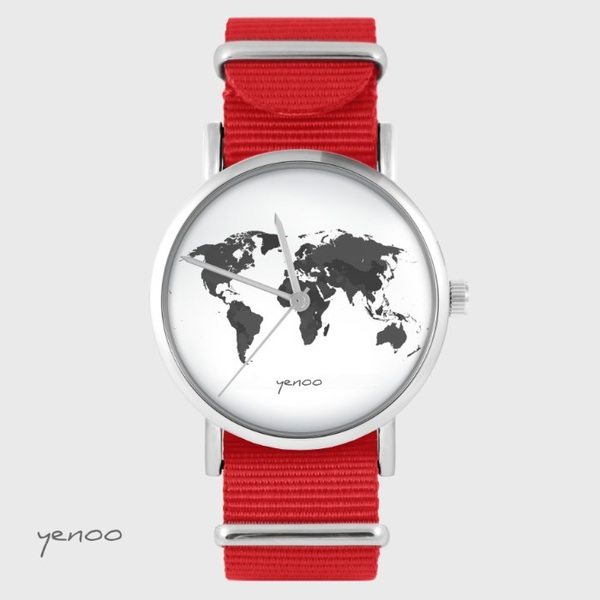 Yenoo watch - World map - red, nato