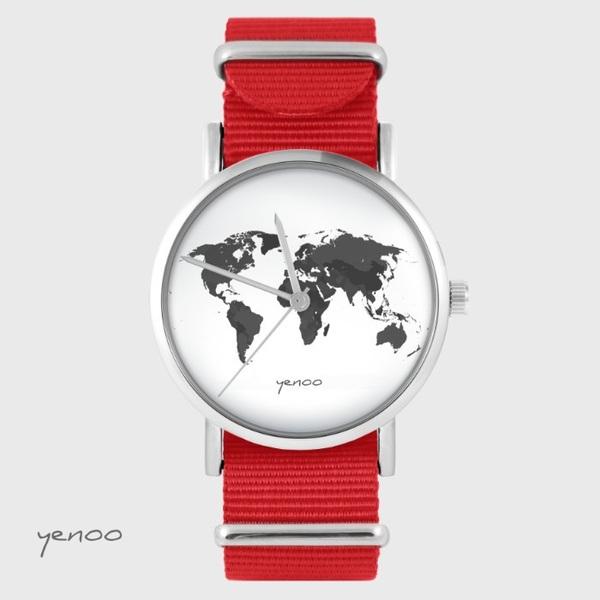 Zegarek yenoo - Mapa świata - czerwony, nato