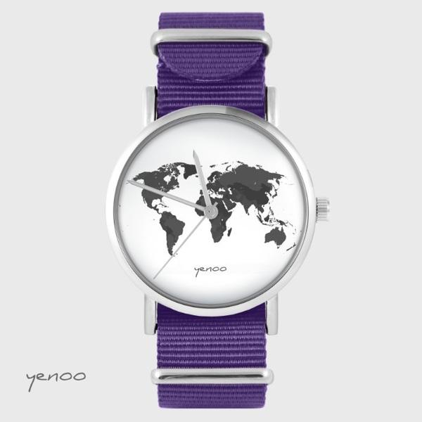 Zegarek yenoo - Mapa świata - fiolet, nato