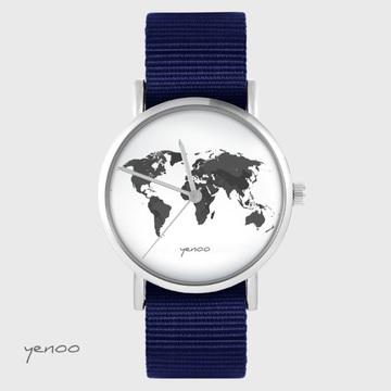 Yenoo watch - World map - navy blue, nato