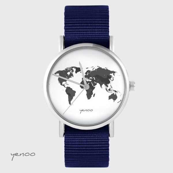 Zegarek yenoo - Mapa świata - granatowy, nato