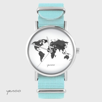 Yenoo watch - World map - blue, flowers, nato