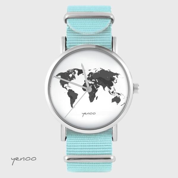 Zegarek yenoo - Mapa świata - niebieski, nato