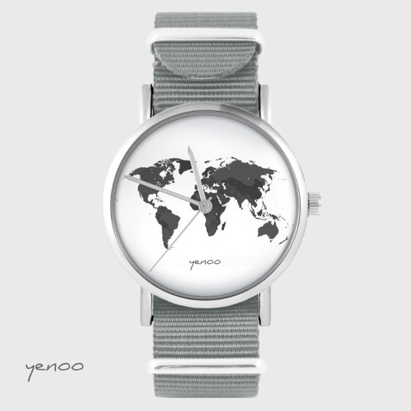 Yenoo watch - World map - grey nato