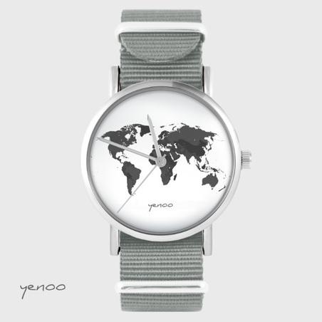 Yenoo watch - World map - grey nato