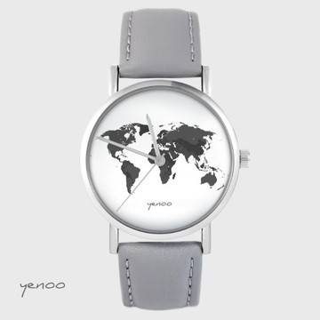 Yenoo watch - World map - grey leather