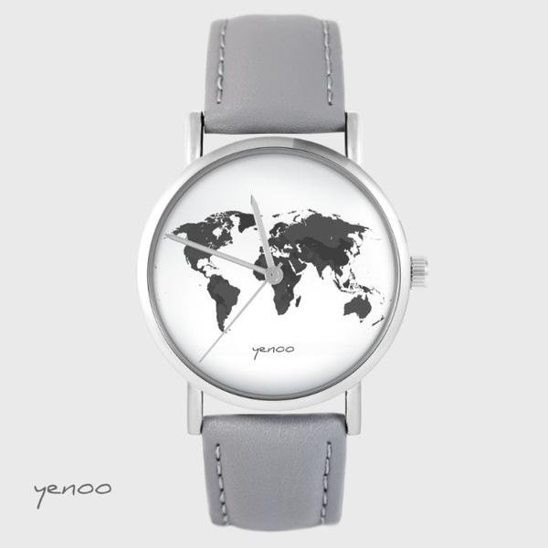 Zegarek yenoo - Mapa świata - szary, skórzany