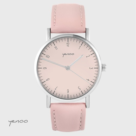 Yenoo watch - Simple elegance, pink - powder pink, leather